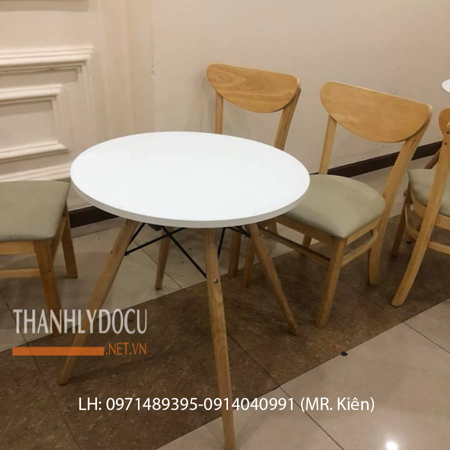 Mặt bàn cafe chân gỗ